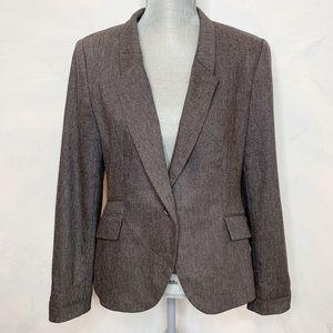 Zara Basic Elbow Patch Wool Blend Blazer Large